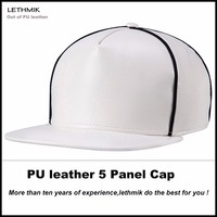 Unisex PU leather Plain Flat Brim Snapback Closure 5 Panel Cap Hat for Young Adults