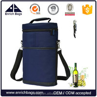 Enrich insulated 2 bottle travel carrier wine cooler bag with bottle opener