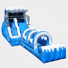 18' Blue White Double Drop Wave Inflatable water slide with pool or slip & slide
