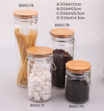 Duroble glass jar with wooden bottle jar witn clip top