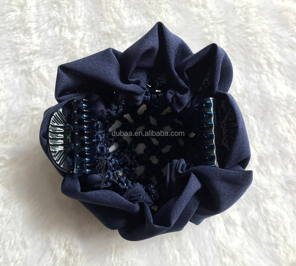 High Quality Handcraft Rhinestones Hair Snood Bun Net with Small Claw Clips Crochet Hair Net Decor Holder With Loops Scrunchie