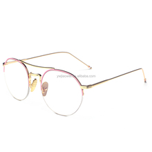 Hot selling High quality retro metal half frame clear lens round reading glasses