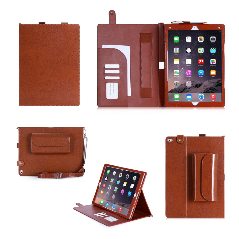 Leather Wallet Tablet Case With Strap Shockproof Tablet Bag For iPad Air 2