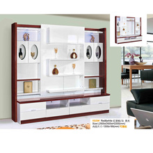 Modern LCD Wall TV Cabinet Design With Showcase and Shelf