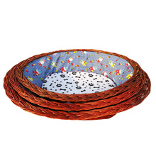 Wicker pet nest for four seasons are available pet basket cat dog kennel pet bed with cushion