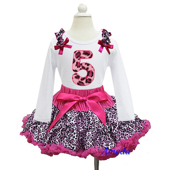 Hot Pink Leopard Pettiskirt with Leopard 5th Birthday White Long Sleeves Tee 1-7Y