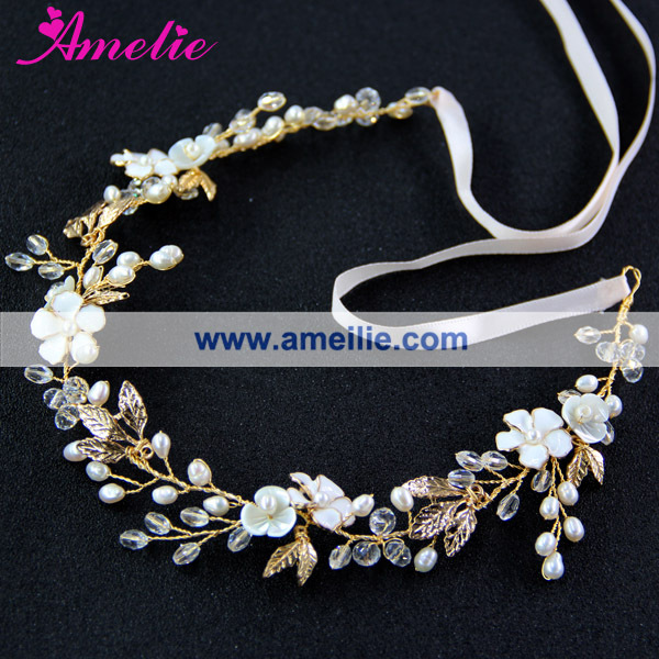 Freshwater Pearls Women Forehead Headband Chain Headpiece Shell Flower Bridal Wedding Hairbands Hair Jewelry