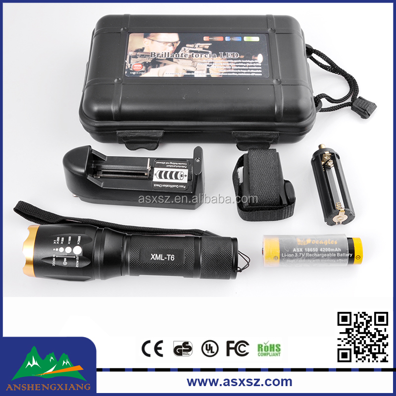 High Quality XM-L T6 1000 lumens LED Zoomable Tactical Torch with Rechargeable 18650 battery