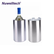 Nuwelltech stainless steel single bottle cooler champagne beer wine ice bucket ice holder