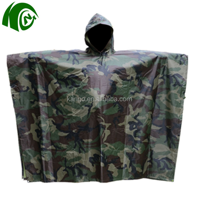 Hot selling cheap camouflage military raincoat with waterproof fabric