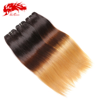 Two tone brazilian silky straight remy human hair weft colored brazilian hair weave