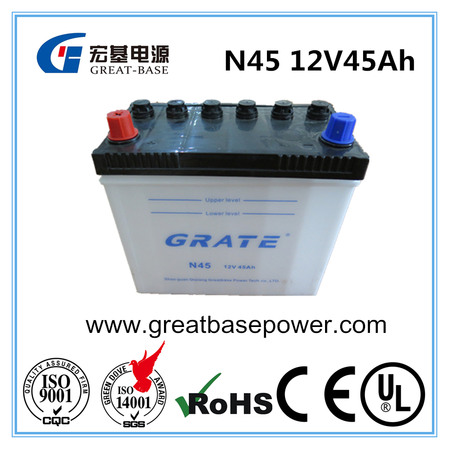 N45 12V 45ah dry charged car battery