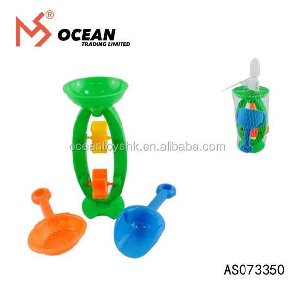 Promotional gift summer toy 3 pcs plastic hourglass mini shovel beach toy