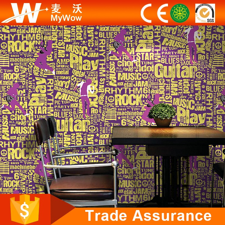 Waterproof Wall Paper Home Decor 3D Name Wallpaper for Bathroom