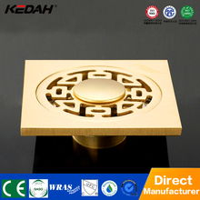 Modern golden bathroom brass garage floor grate drains chrome