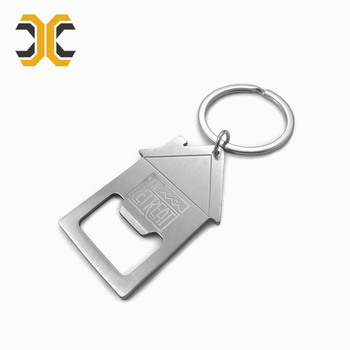 custom stainless steel bottle opener house keychain promotional
