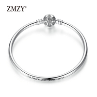ZMZY Authentic 925 Sterling Silver Engrave Snowflake Clasp Unique As You Are Snake Chain Bracelet & Bangle DIY Jewelry