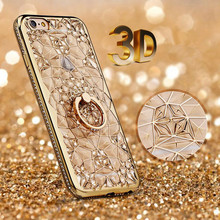 3D Gold Glitter Case For iPhone 7 8 Case Luxury Silicone Soft Gel Back Diamond Ring Phone Case For iPhone 8 7 Plus Cover
