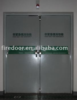 Double-leaf fire door with panic bar
