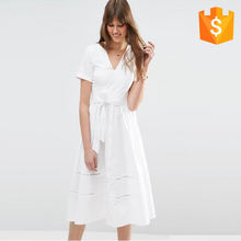 Online Shipping Fashion Girls Plain Elegant White Dress Pattern Wholesale White Cotton Dress