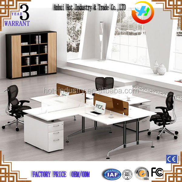 Cheap modern design cubicle L shape 4 person office workstation desk for staff