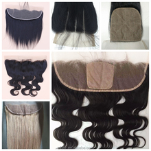 Top Grade Virgin Indian Hair 4x4 Three Part Lace Closure 13x4 13x6 Silk Base Lace Frontal Closure