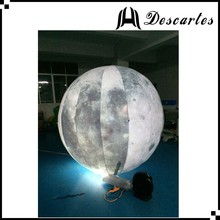 4m diameter PVC Illuminated inflatable floating helium moon balloon for sale