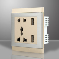 Euro 5V 2A double wall usb socket International Electrical Power Outlet on Wall with Light and Switch 220v