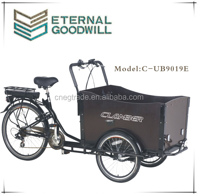 Family 3 wheel electric cargo bike tricycle with 6 speed bakfiets / electric trike for adult UB9019E trikes