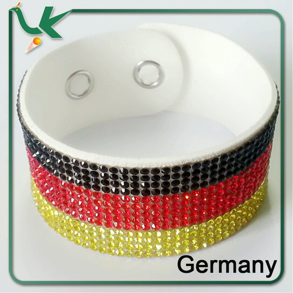 Rhinestone Germany Flag European style Leather Wrap Bracelet for World Cup