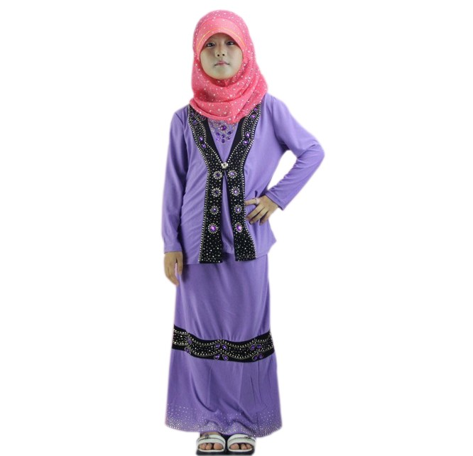 mulism kids clothes three piece shirt skirt hijab abaya for girls