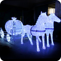 led lighted horse carriage for christmas