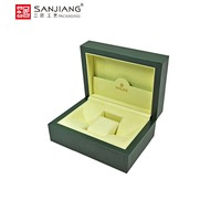 Custom luxury leather wooden single watch gift storage box