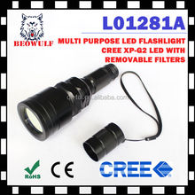 Waterproof 18650 Outdoor Tactical High Power LED Flashlight + Green Filter