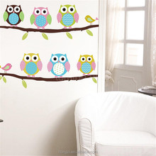 New Cute DIY Removable Colorful Si Owls Bird Branch Vinyl Decal Wall Mural Sticker Poster Home Decor 2016