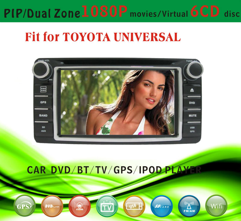 car dvd vcd cd mp3 mp4 player fit for Toyota Universal rav4 camry 2001 - 2008 with radio bluetooth gps tv pip dual zone