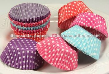 China 2'' Cupcake Liners, Baking Cups, Blue Polka Dot, Greaseproof, Standard Size