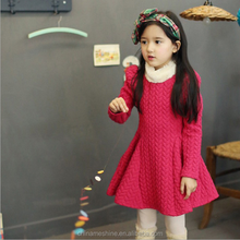 MS60455C wholesale fashion fur collar kids girl dresses autumn dresses photo