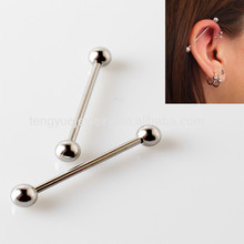 Custom G23 Solid Titanium Ear Piercing Sliver Bar Industrial Barbell with Balls