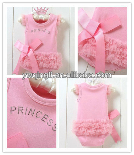Wholesale princess Cotton Rompers Baby Romper Pink baby bodysuit Petti Rompers w chiffon&Bow