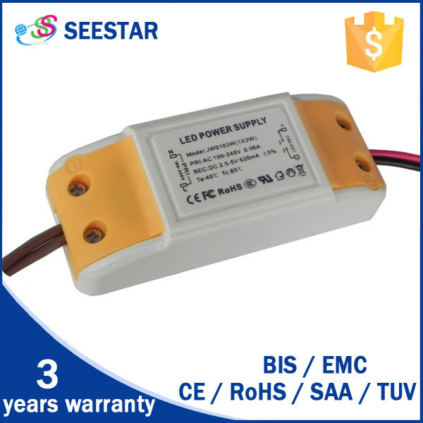 SAA CE approved 100-130v/180-240v led dimmable driver 3w 280ma dc 9-12v dimmbare led-treiber 3w