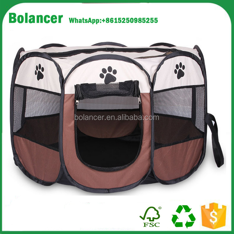 "Hot Selling 29""X29""X17"" Foldable Pet Tent for Camping,Pet Playpen 8 Panel Exercise Puppy Dog Fabric Pet Tent,Pet Playpen"