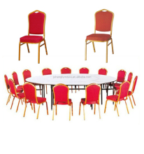 Plywood folding table and metal chair for restaurant tables and chairs used