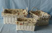 willow baskets with liner and Ear handles S/3--#H-15511ABD