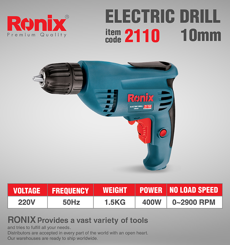 Ronix Wholesale Corded Power Tools Mini Electric Drill 10mm 400W model 2110 hot selling portable power electric drill