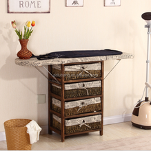 Folding wood ironing boards with storage cabinet