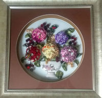 Turkish Flowers Ribbon Handmade Artwork Craft Hand Craft Panel Tableau Turkey Two Girls