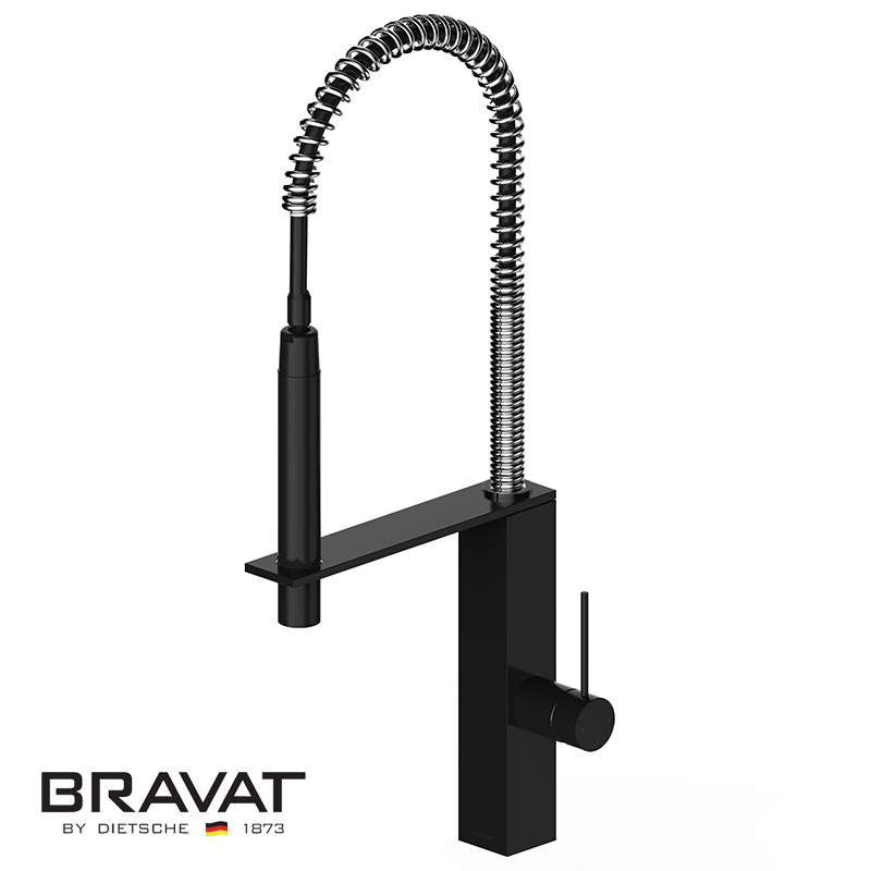 Black Single Handle Kitchen Sink Faucet Brass Body Contemporary Design Stretching Pull Out F781125K