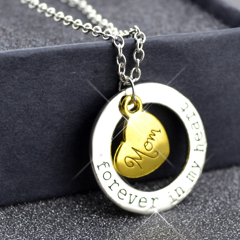 <strong>N101</strong> Forever In My Heart Letter Necklace Birthday Gift For Parents Children Brothers And Sisters 60+5CM Long Necklace