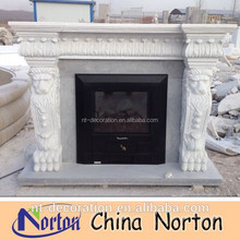 lion head handcarved fireplace surround mantel NTMF-F503X